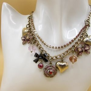Betsey Johnson Pink Rose Heart Bow Necklace